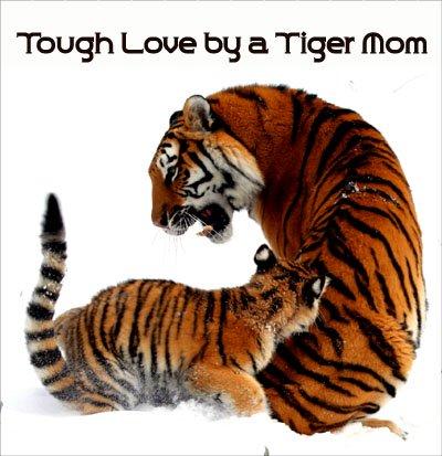 Tiger mom picuture representing Chua's tough love parenting.