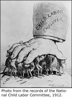 Drawing of children held down by rich man's hand. National Child Labor Committee.