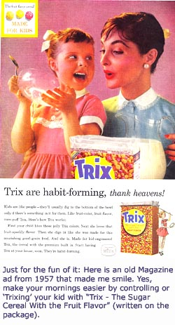 Four basic parenting styles from the 1960s: Old ad for Trix cereal with mom and little girl