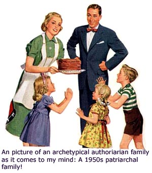 Authoritarian parenting style: A picture that represents the 1960's authoritarian family structure. An old 1960 poster or ad