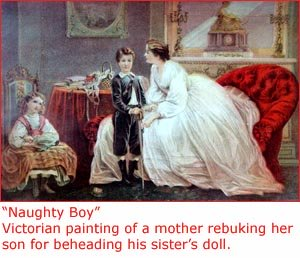 Old painting of Victorian family with mother and son and dauther.