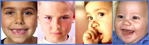 Types of parenting styles: Close up of 3 kids' faces. Happy, angry and secure.