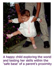Secure attachment - baby walking - photo by pura vida photos