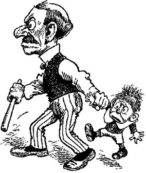 Authoritarian parenting style: Angry father dragging fearful son along to get a spanking