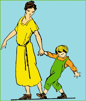 Mother dragging little boy with force.