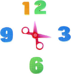 Developmental milestones: Learning time and counting. Numbers arranged as a clock.