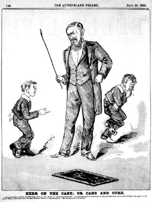 Controlling Behavior: Old drawing of teacher giving his students a spanking with the cane.