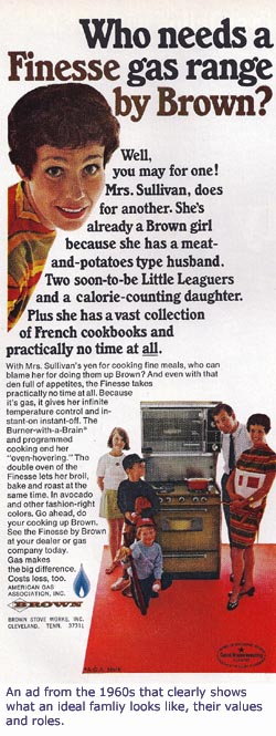 Four basic parenting styles from the 1960s: Old ad for Brown stove. 1960s family