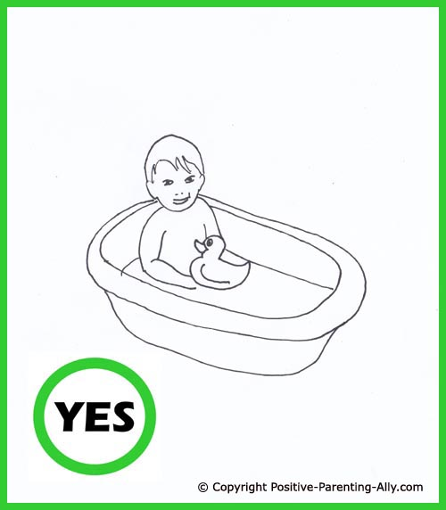 Bathing toddler. Cute hand drawing of little boy bathing in a tub with his rubber duck