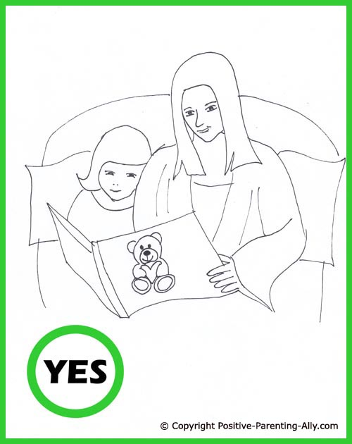 Toddler bedtime stories. Cute hand drawing of mom reading a book / bedtime story for her little girl.