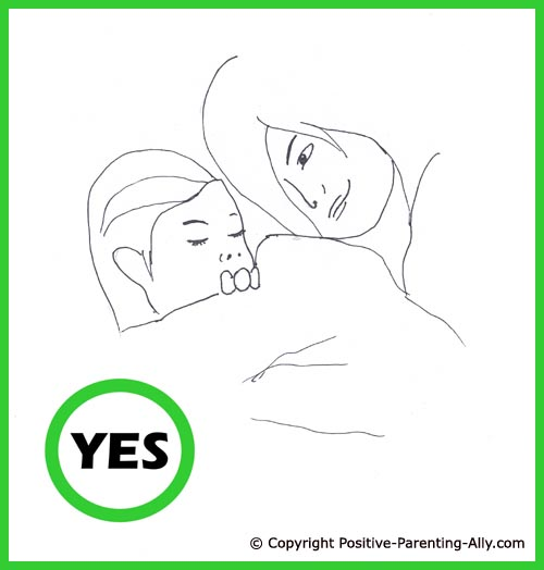 Toddler sleeping rituals. Cute hand drawing of mom putting little girl to bed, gently tugging her in.
