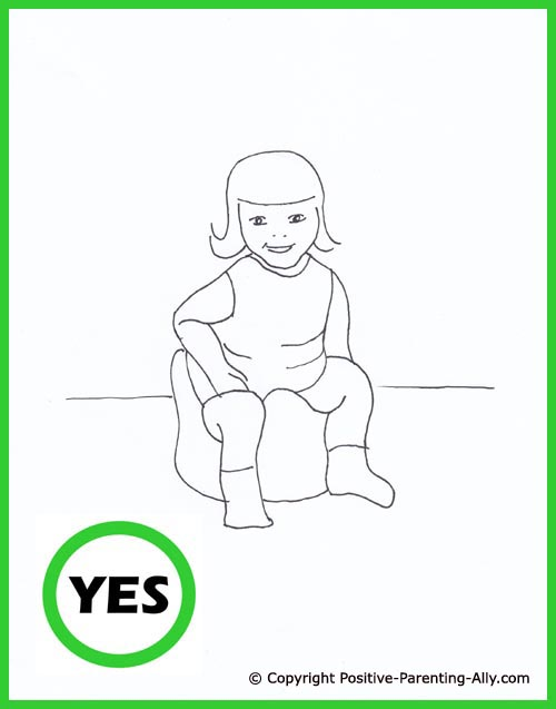 Funny parenting drawing. Potty training toddler. Cute hand drawing of little girl on the potty.
