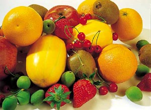 Healthy parenting skills: healthy food, an assortment of fruit.