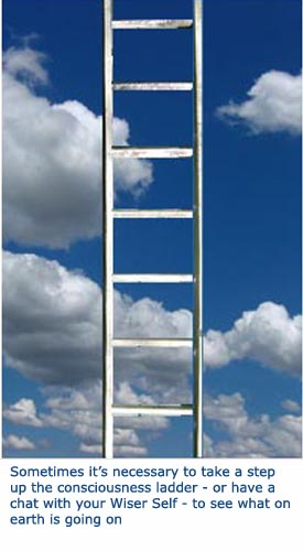Picture of a ladder on a blue sky - a ladder of consciousness.