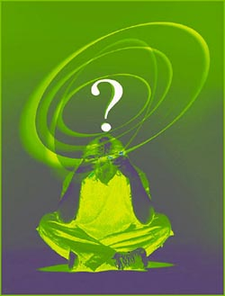 Green picture with a confused looking man with a question mark hovering above his head.