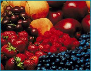 Picture of various healthy fruits.
