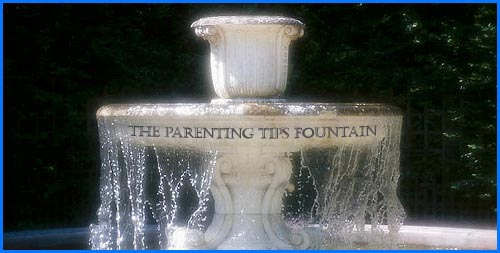 Positive Parenting Article: high-level and handy parenting tips and parenting advice. Picture of a white fountain.