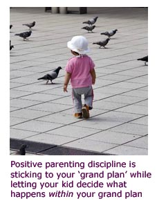 Cute toddler picture, girl walking among pigeons