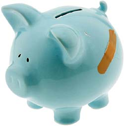 Parenting style and socioeconomic status: blue piggy bank with plaster.