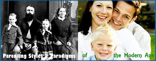 Parenting Styles: Photo of old Victorian familiy and photo of modern American family.