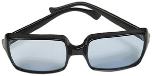 Sunglasses colored with the old fashioned parenting style. Picture of black sunglasses with blue glass.