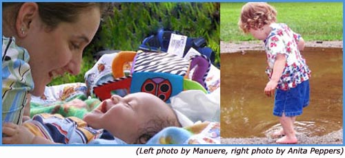 positive parenting ally - mom looks at baby by Manuere and girl by puddle by Anita Peppers