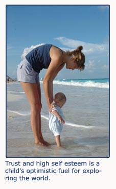 Building high self esteem - beautiful photo of mom and baby on the beach
