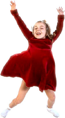 Girl in red dress jumping