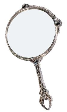 Types of parenting styles: Photo of hand held mirror in sliver.