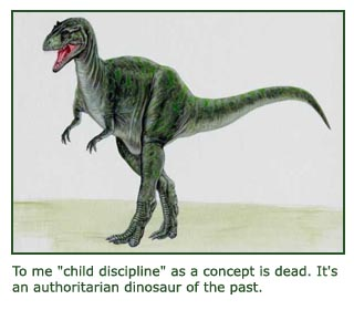 Art drawing of dinosaur representing child discipline.