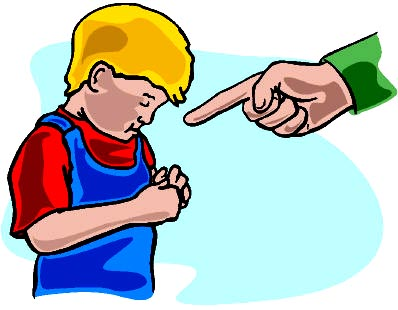 Drawing of boy being scolded. Parent with a raised index finger.