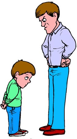 Authoritarian father: picture or drawing of angry father looking down at his son!