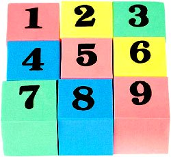 The milestone of counting to 20. Picture of toy blocks with numbers on.