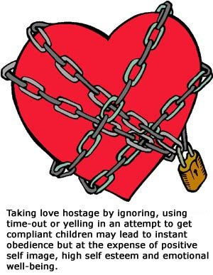 Drawing of red heart in chains - taking love hostage.