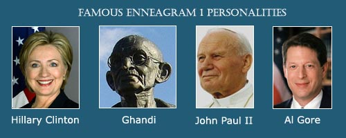 Enneagram 1 - the perfectionist - photo of Hillary Clinton - photo of Ghandi statue - Photo of Pope John Paul II - Photo of Al Gore