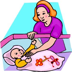 Drawing of mother comforting her baby in the crib