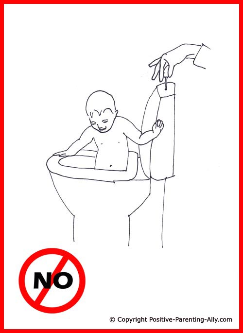 Bathing toddler. Funny drawing of boy bathing in the toilet while mom flushes.