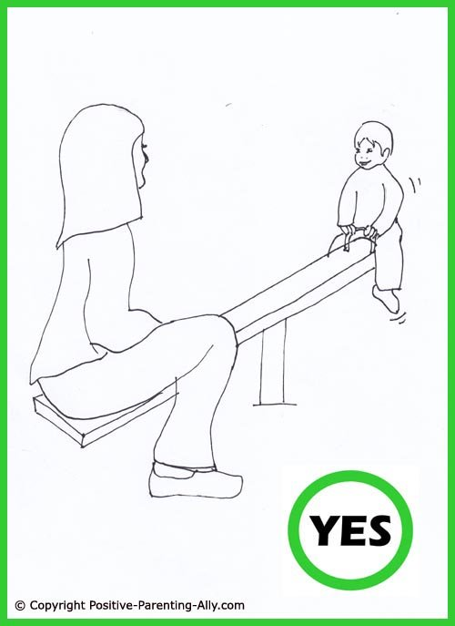 Funny parenting tips. Toddler playground activity. Cute hand drawing of mom and little boy playing on the seesaw.