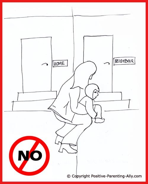 Funny parenting tips. Toddler toilet training. Funny picture of mom holding little girl so she can pee on next door's lawn.