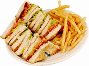 Junk food, white bread sandwiches and french fries.