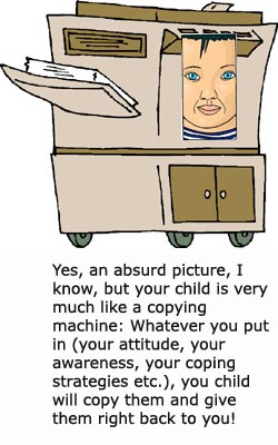Parenting symbolism: Your child is a living copying machine. Funny drawing of copying machine with kid face.