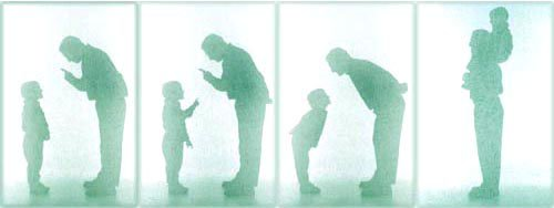Parenting style quiz: four silhouette pictures of father and boy.