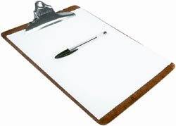 Parenting style test: picture of pen and paper on a clipboard.