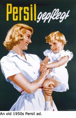 Parenting Styles: Old Persil ad from the 1950's. Mother looking happily at little girl.