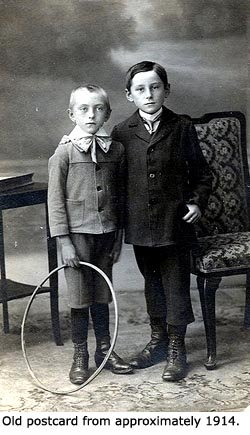 Old postcard or photo of two Victorian boys.
