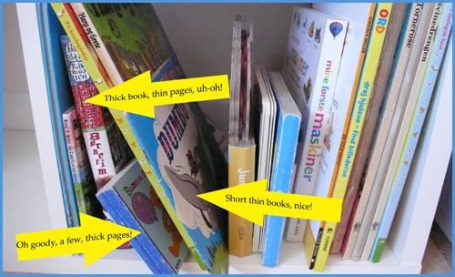My not so ideal parenting moments: Picture of book case with children books.