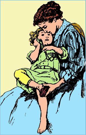 Cute drawing of girl sitting in mother's lap while getting her shoe on.