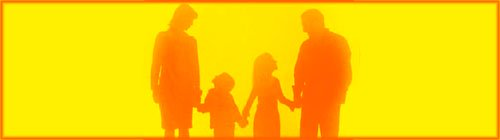 Permissive Parenting: Orange silhouette of family, mother, father, daughter and son.