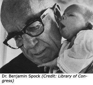 Photo of Benjamin Spock with little baby.