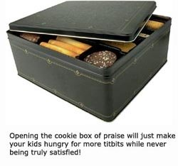 Cookie box as a metaphor for children seeking praise